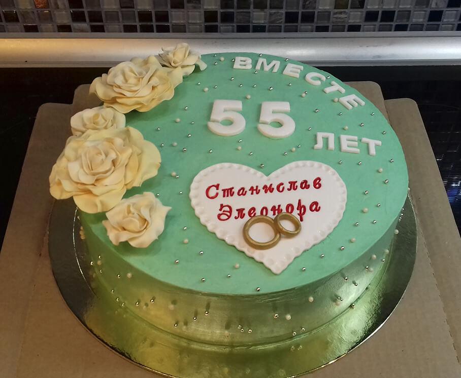 Торт на изумрудную свадьбу