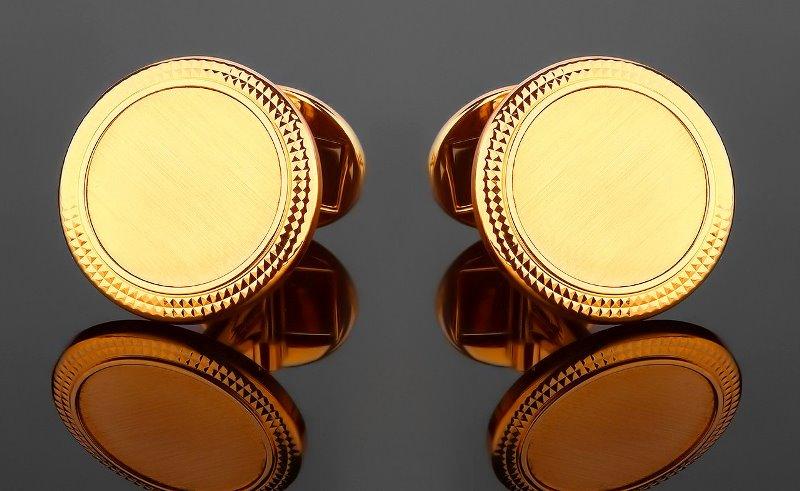 Золотые круглые запонки